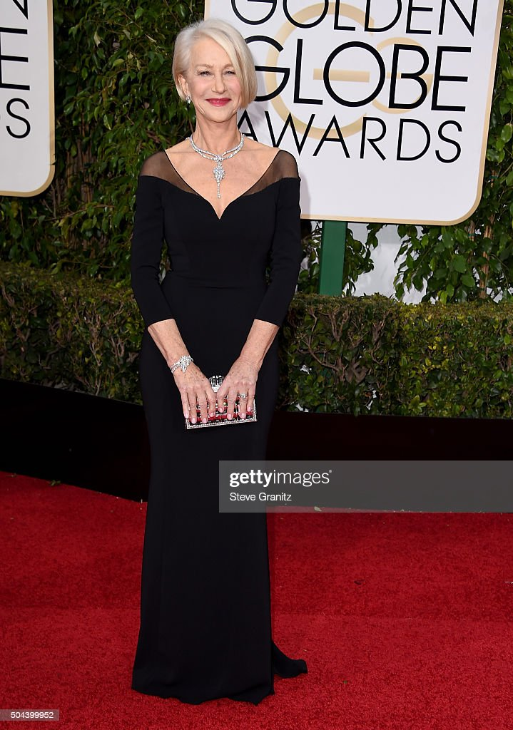 Actress <a gi-track='captionPersonalityLinkClicked' href=/galleries/search?phrase=Helen+Mirren&family=editorial&specificpeople=201576 ng-click='$event.stopPropagation()'>Helen Mirren</a> attends the 73rd Annual Golden Globe Awards held at the Beverly Hilton Hotel on January 10, 2016 in Beverly Hills, California.