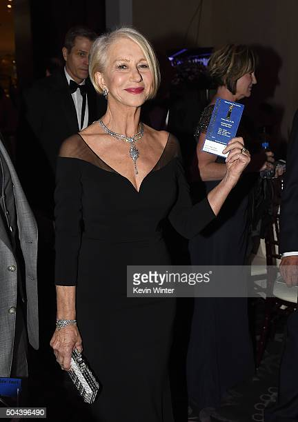 Actress Helen Mirren attends the cocktail reception during the 73rd Annual Golden Globe Awards at The Beverly Hilton Hotel on January 10 2016 in...