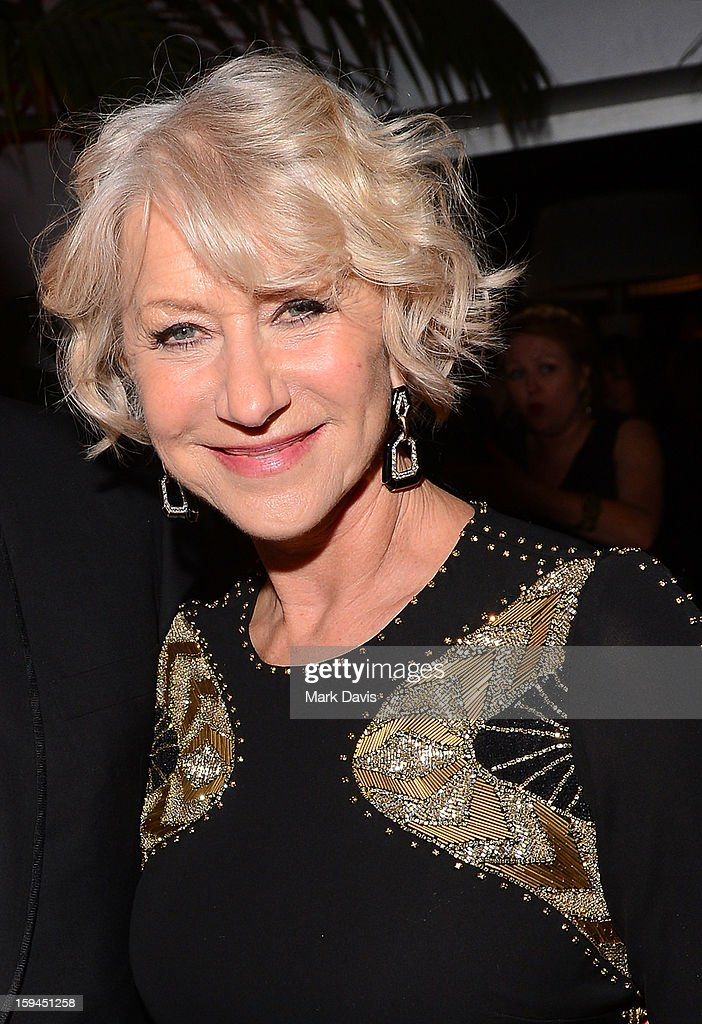 Actress <a gi-track='captionPersonalityLinkClicked' href=/galleries/search?phrase=Helen+Mirren&family=editorial&specificpeople=201576 ng-click='$event.stopPropagation()'>Helen Mirren</a> attends the FOX After Party for the 70th Annual Golden Globe Awards held at The FOX Pavillion at The Beverly Hilton Hotel on January 13, 2013 in Beverly Hills, California.