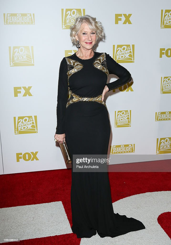 Actress <a gi-track='captionPersonalityLinkClicked' href=/galleries/search?phrase=Helen+Mirren&family=editorial&specificpeople=201576 ng-click='$event.stopPropagation()'>Helen Mirren</a> attends the FOX after party for the 70th Golden Globes award show at The Beverly Hilton Hotel on January 13, 2013 in Beverly Hills, California.