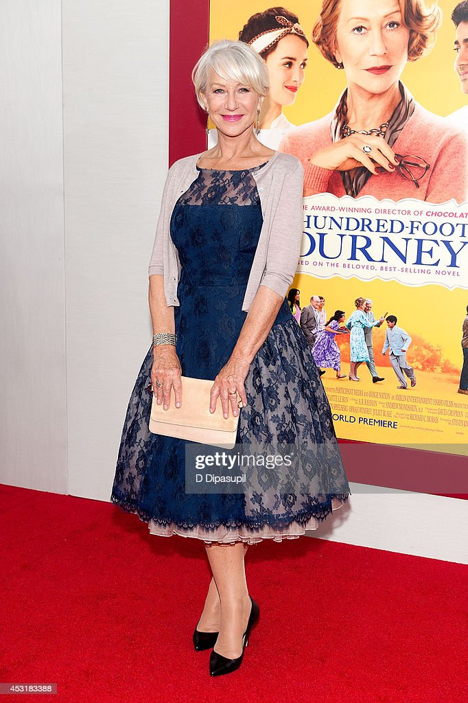 Actress <a gi-track='captionPersonalityLinkClicked' href=/galleries/search?phrase=Helen+Mirren&family=editorial&specificpeople=201576 ng-click='$event.stopPropagation()'>Helen Mirren</a> attends 'The Hundred-Foot Journey' New York premiere at the Ziegfeld Theater on August 4, 2014 in New York City.