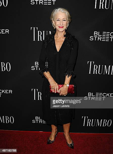 Actress Helen Mirren attends the premiere of 'Trumbo' at Samuel Goldwyn Theater on October 27 2015 in Beverly Hills California