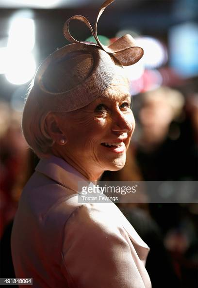 Actress Helen Mirren attends the 'Trumbo' premiere during the BFI London Film Festival at the Odeon Leicester Square on October 8 2015 in London...