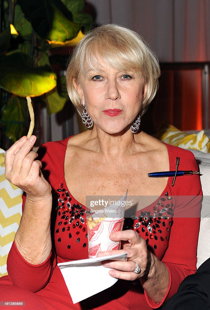 Actress Helen Mirren attends The Weinstein Company Netflix's 2015 Golden Globes After Party presented by FIJI Water Lexus Laura Mercier and Marie...