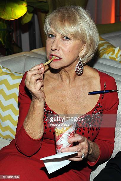 Actress Helen Mirren attends The Weinstein Company Netflix's 2015 Golden Globes After Party presented by FIJI Water Lexus Laura Mercier and Marie...