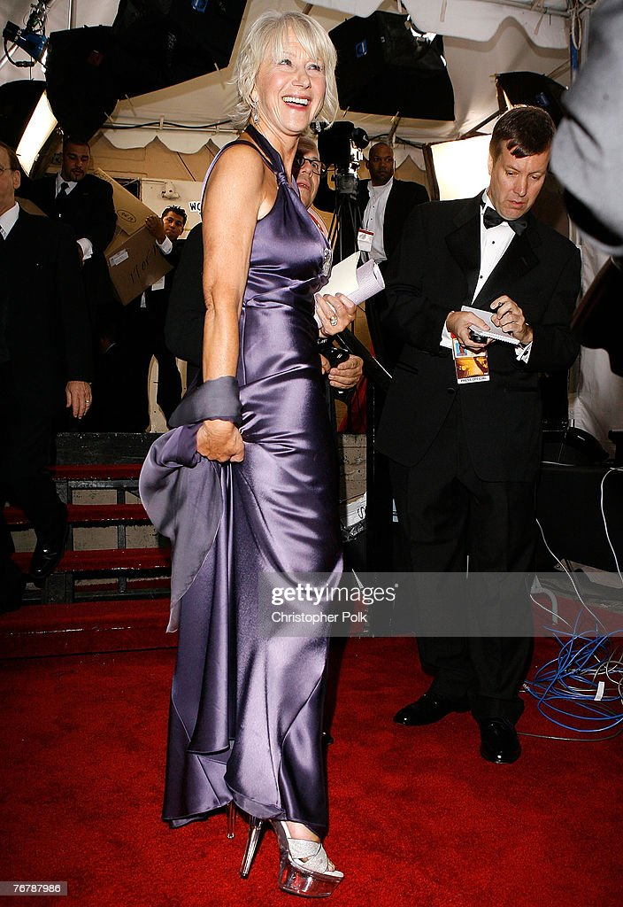 Actress <a gi-track='captionPersonalityLinkClicked' href=/galleries/search?phrase=Helen+Mirren&family=editorial&specificpeople=201576 ng-click='$event.stopPropagation()'>Helen Mirren</a> behind the scenes at the 59th Primetime EMMY Awards at the Shrine Auditorium on September 16, 2007 in Los Angeles, California. *EXCLUSIVE