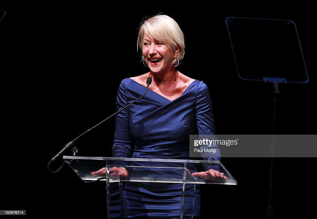 Actress Helen Mirren makes a few remarks at the Thelonious Monk International Jazz Drums Competition and Gala Concert at The Kennedy Center on September 23, 2012 in Washington, DC.