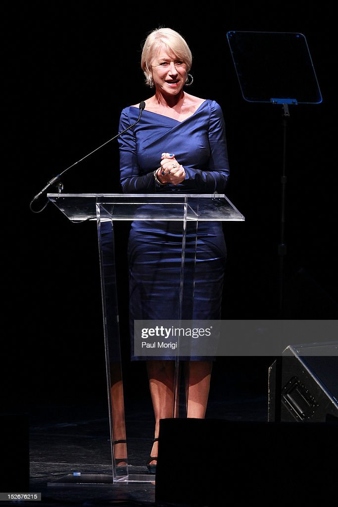 Actress <a gi-track='captionPersonalityLinkClicked' href=/galleries/search?phrase=Helen+Mirren&family=editorial&specificpeople=201576 ng-click='$event.stopPropagation()'>Helen Mirren</a> makes a few remarks at the Thelonious Monk International Jazz Drums Competition and Gala Concert at The Kennedy Center on September 23, 2012 in Washington, DC.