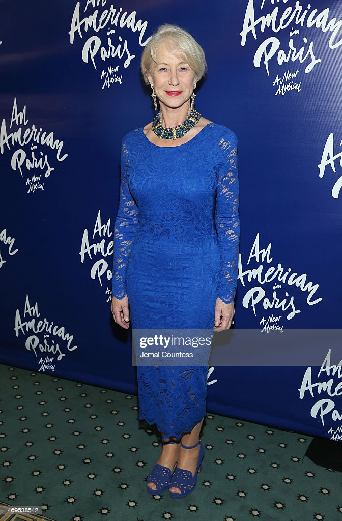 Actress <a gi-track='captionPersonalityLinkClicked' href=/galleries/search?phrase=Helen+Mirren&family=editorial&specificpeople=201576 ng-click='$event.stopPropagation()'>Helen Mirren</a> poses for a photo during 'An American In Paris' Broadway Opening Night after party at The Pierre Hotel on April 12, 2015 in New York City.