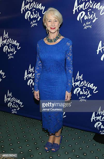 Actress Helen Mirren poses for a photo during 'An American In Paris' Broadway Opening Night after party at The Pierre Hotel on April 12 2015 in New...