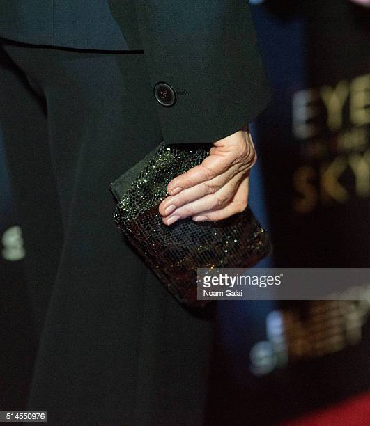 Actress Helen Mirren purse detail attends the 'Eye In The Sky' New York premiere at AMC Loews Lincoln Square 13 theater on March 9 2016 in New York...