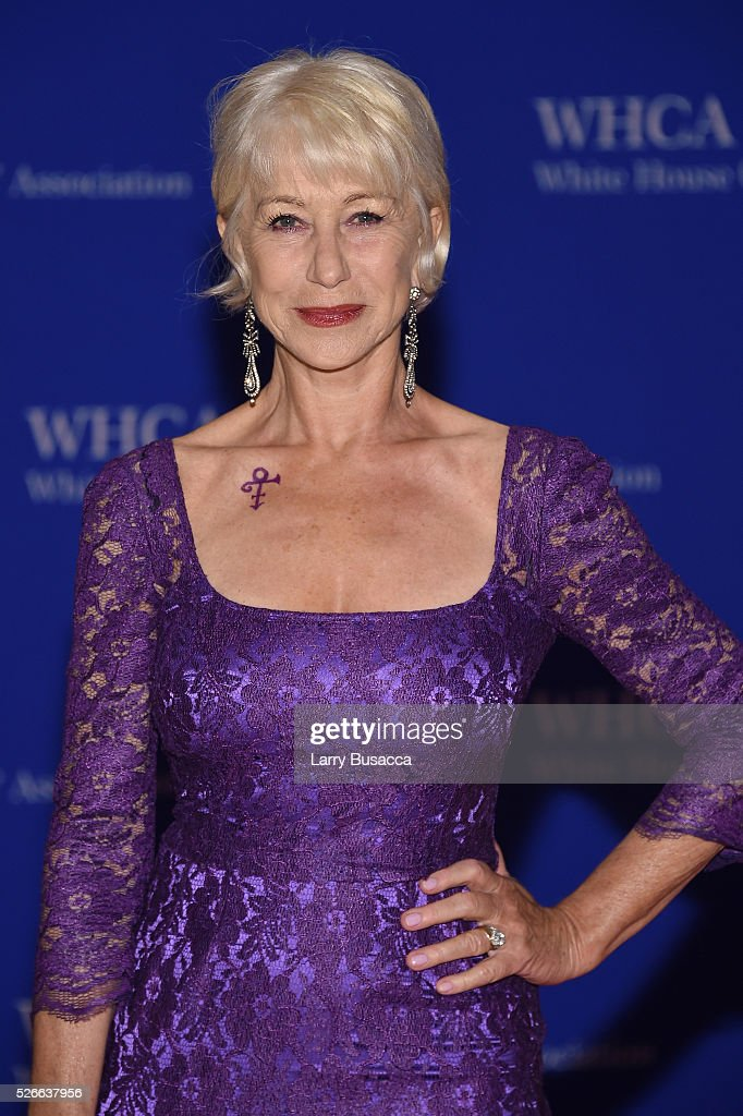 Actress <a gi-track='captionPersonalityLinkClicked' href=/galleries/search?phrase=Helen+Mirren&family=editorial&specificpeople=201576 ng-click='$event.stopPropagation()'>Helen Mirren</a> shows her Prince symbol tribute at the 102nd White House Correspondents' Association Dinner on April 30, 2016 in Washington, DC.