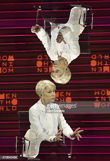 Actress Helen Mirren speaks during the Women In World Summit at the David H Koch Theater at Lincoln Center on April 22 2015 in New York City