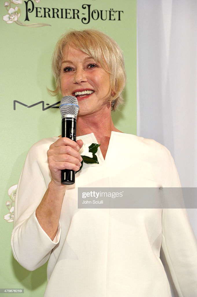 Actress <a gi-track='captionPersonalityLinkClicked' href=/galleries/search?phrase=Helen+Mirren&family=editorial&specificpeople=201576 ng-click='$event.stopPropagation()'>Helen Mirren</a> speaks onstage at the Women In Film Pre-Oscar Cocktail Party presented by Perrier-Jouet, MAC Cosmetics & MaxMara at Fig & Olive Melrose Place on February 28, 2014 in West Hollywood, California.