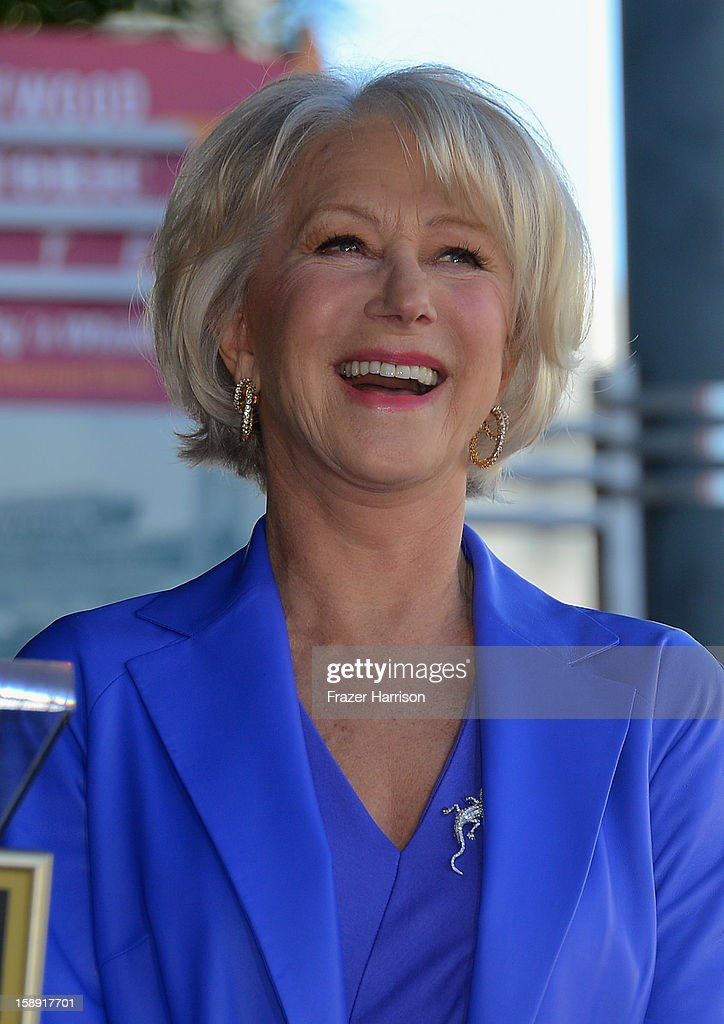 Actress Helen Mirren, who was Honored on The Hollywood Walk Of Fame with her own star on January 3, 2013 in Hollywood, California.