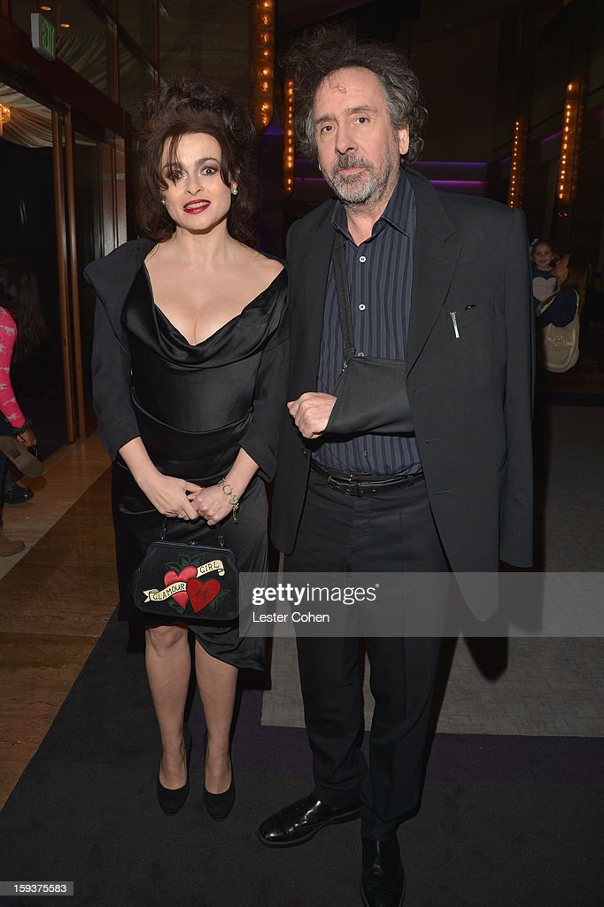 Actress <a gi-track='captionPersonalityLinkClicked' href=/galleries/search?phrase=Helena+Bonham+Carter&family=editorial&specificpeople=210567 ng-click='$event.stopPropagation()'>Helena Bonham Carter</a> and director <a gi-track='captionPersonalityLinkClicked' href=/galleries/search?phrase=Tim+Burton&family=editorial&specificpeople=206342 ng-click='$event.stopPropagation()'>Tim Burton</a> arrive at the 38th Annual Los Angeles Film Critics Association Awards at InterContinental Hotel on January 12, 2013 in Century City, California.