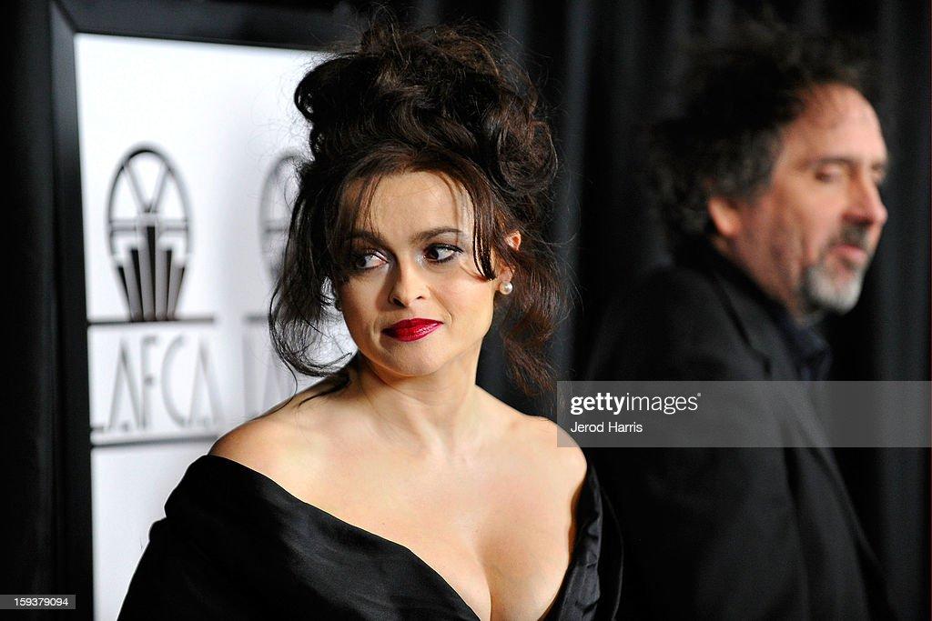 Actress Helena Bonham Carter and director Tim Burton arrive at the 38th Annual Los Angeles Film Critics Association Awards at InterContinental Hotel...