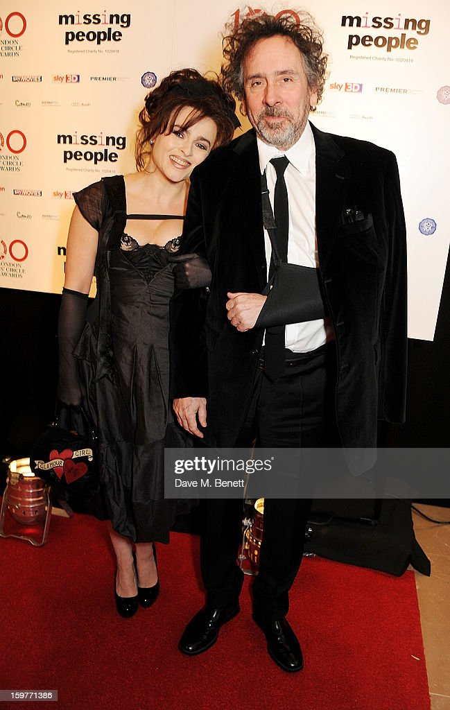 Actress Helena Bonham Carter (L) and director Tim Burton arrive at the London Critics Circle Film Awards at the May Fair Hotel on January 20, 2013 in London, England.