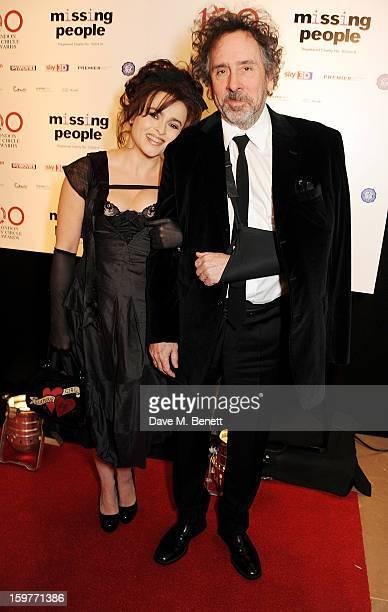 Actress Helena Bonham Carter and director Tim Burton arrive at the London Critics Circle Film Awards at the May Fair Hotel on January 20 2013 in...