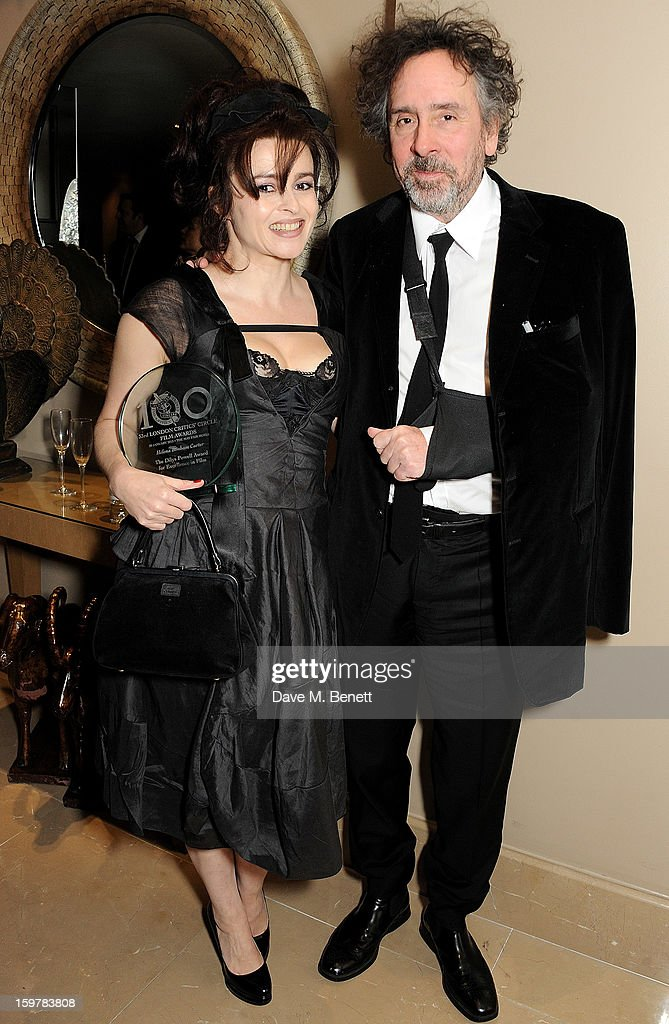 Actress Helena Bonham Carter and director Tim Burton attend an after party following the London Critics Circle Film Awards at Quince Restaurant The...