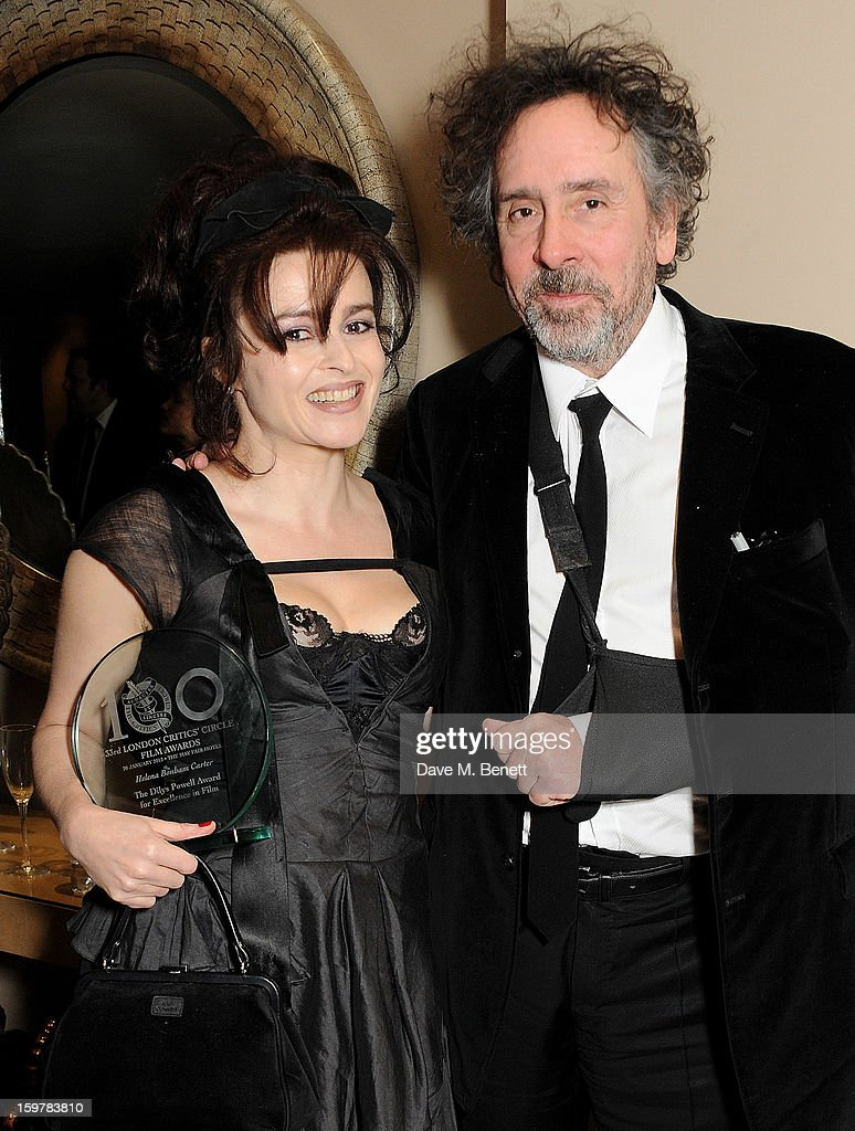 Actress Helena Bonham Carter (L) and director Tim Burton attend an after party following the London Critics Circle Film Awards at Quince Restaurant, The May Fair Hotel on January 20, 2013 in London, England.