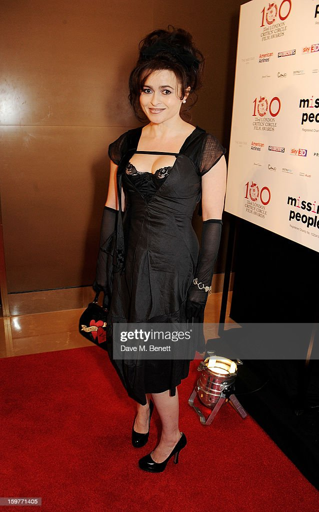 Actress <a gi-track='captionPersonalityLinkClicked' href=/galleries/search?phrase=Helena+Bonham+Carter&family=editorial&specificpeople=210567 ng-click='$event.stopPropagation()'>Helena Bonham Carter</a> arrives at the London Critics Circle Film Awards at the May Fair Hotel on January 20, 2013 in London, England.