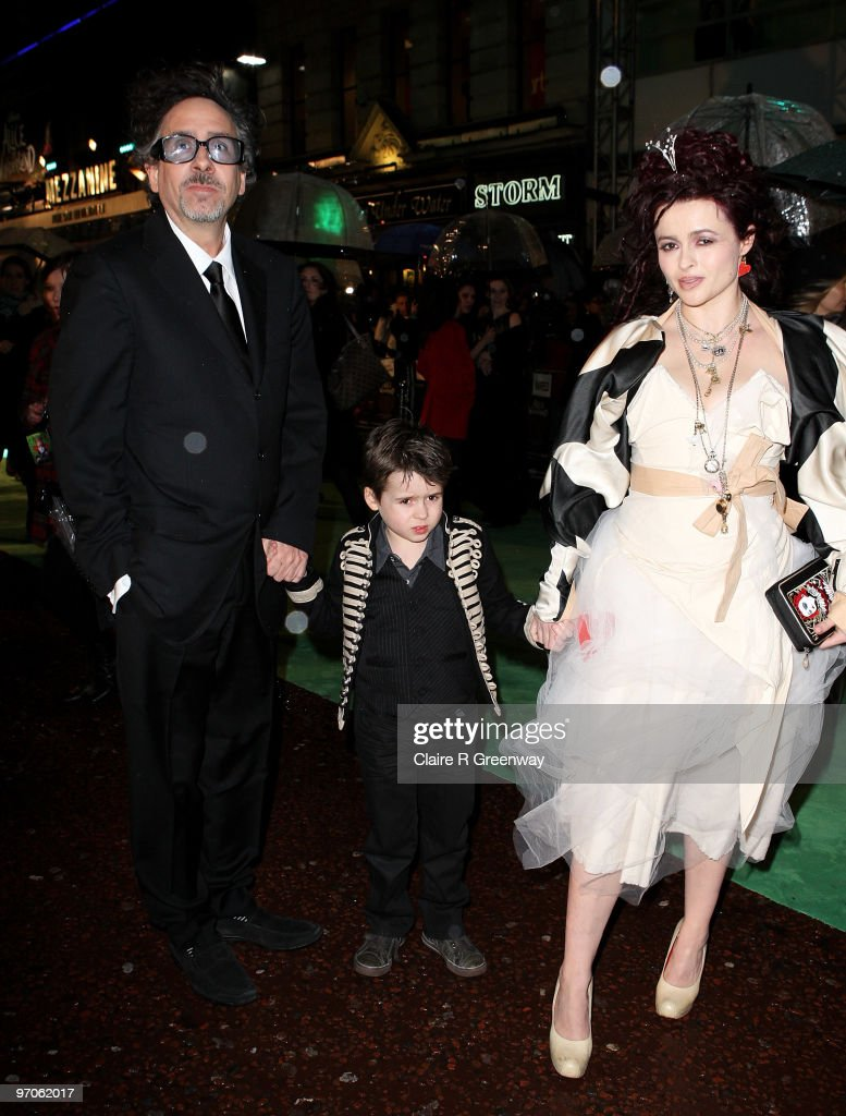 Actress Helena Bonham Carter director Tim Burton and their son Billy Raymond arrive at the Royal World Premiere of 'Alice In Wonderland' at Odeon...