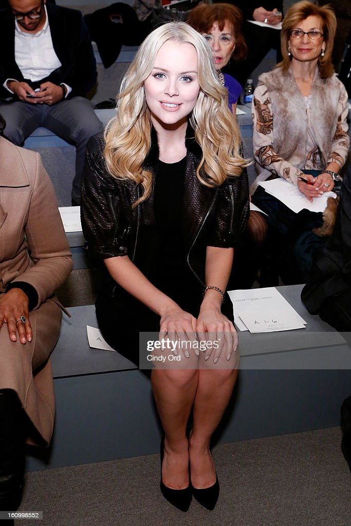 Actress Helena Mattsson attends the Carmen Marc Valvo Fall 2013 fashion show during Mercedes-Benz Fashion Week at The Stage at Lincoln Center on February 8, 2013 in New York City.
