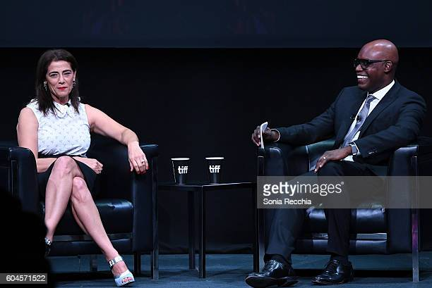 Actress Hiam Abbass and moderator Cameron Bailey speak onstage during an In Conversation With Hiam Abbass during the 2016 Toronto International Film...