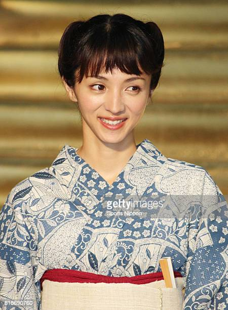 Actress Hikari Mitsushima attends promotional event of film 'One Piece film gold' on July 6 2016 in Tokyo Japan