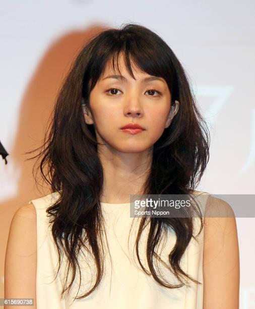 Actress Hikari Mitsushima attends the press conference of Fuji TV program 'Wakamonotachi 2014' on October 5 2014 in Tokyo Japan