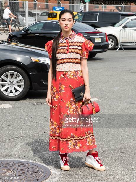 Actress Hikari Mori is seen arriving to Coach Spring 2018 fashion show during New York Fashion Week at Basketball City Pier 36 South Street on...