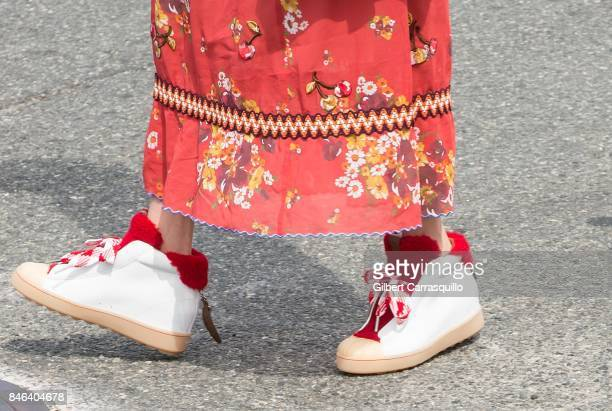 Actress Hikari Mori shoe detail is seen arriving to Coach Spring 2018 fashion show during New York Fashion Week at Basketball City Pier 36 South...