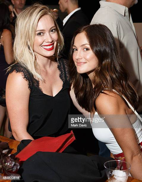 Actress Hilary Duff and actress Minka Kelly attend 'Rise Nation Fitness Studio's Los Angeles Grand Opening' on August 21 2015 in West Hollywood...