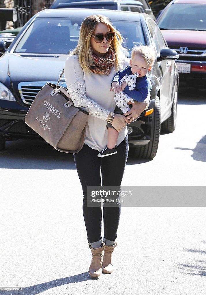 Actress <a gi-track='captionPersonalityLinkClicked' href=/galleries/search?phrase=Hilary+Duff&family=editorial&specificpeople=201586 ng-click='$event.stopPropagation()'>Hilary Duff</a> and Luca Cruz Comrie as seen on January 17, 2013 in Los Angeles, California.