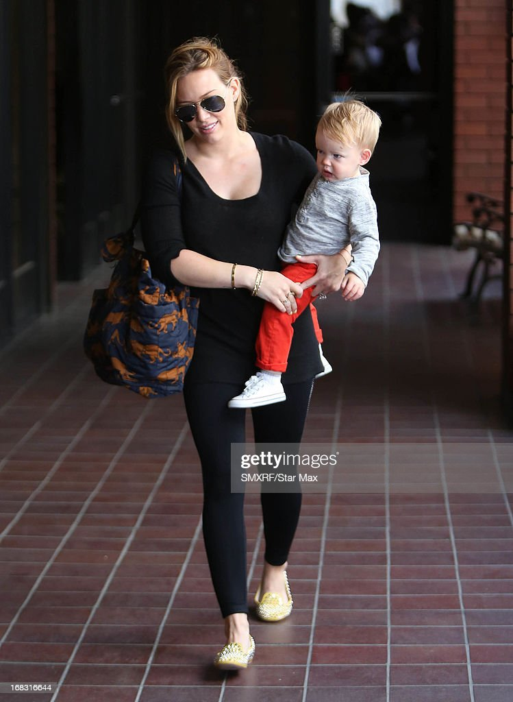 Actress <a gi-track='captionPersonalityLinkClicked' href=/galleries/search?phrase=Hilary+Duff&family=editorial&specificpeople=201586 ng-click='$event.stopPropagation()'>Hilary Duff</a> and Luca Cruz Comrie as seen on May 8, 2013 in Los Angeles, California.