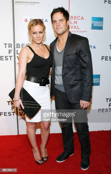 Actress Hilary Duff and Mike Comrie attend the 8th Annual Tribeca Film Festival 'Stay Cool' premiere at BMCC Tribeca PAC on April 23 2009 in New York...