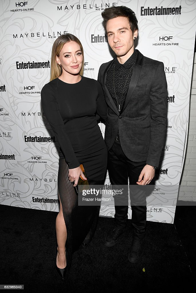 Actress Hilary Duff (L) and musician Matthew Koma attend the Entertainment Weekly Celebration of SAG Award Nominees sponsored by Maybelline New York at Chateau Marmont on January 28, 2017 in Los Angeles, California.