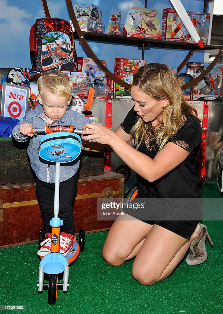 Actress Hilary Duff and son Luca Cruz Comrie at the world-premiere of 'Disney's Planes' presented by Target at the El Capitan Theatre on August 5, 2013 in Hollywood, California.