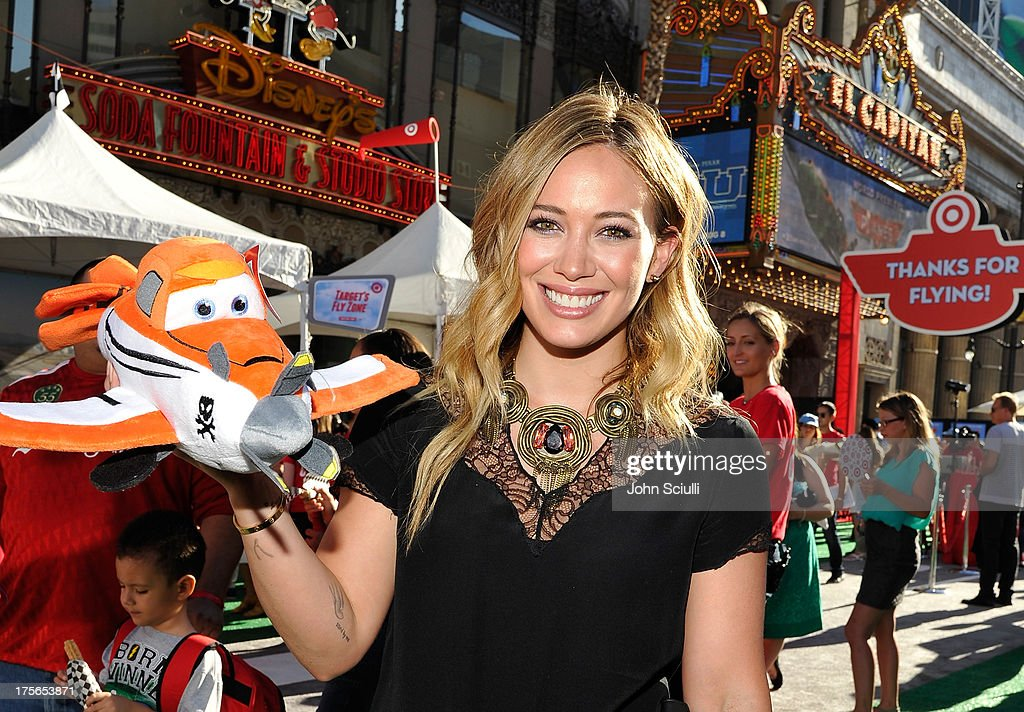 Actress <a gi-track='captionPersonalityLinkClicked' href=/galleries/search?phrase=Hilary+Duff&family=editorial&specificpeople=201586 ng-click='$event.stopPropagation()'>Hilary Duff</a> at the world-premiere of 'Disney's Planes' presented by Target at the El Capitan Theatre on August 5, 2013 in Hollywood, California.
