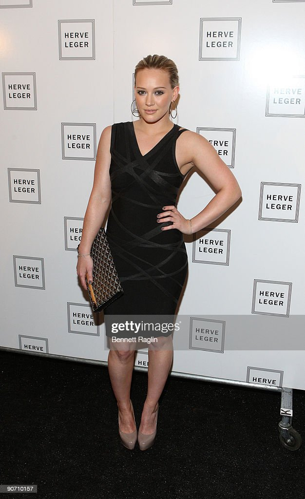 Actress <a gi-track='captionPersonalityLinkClicked' href=/galleries/search?phrase=Hilary+Duff&family=editorial&specificpeople=201586 ng-click='$event.stopPropagation()'>Hilary Duff</a> attends Herve Leger By Max Azria Spring 2010 during Mercedes-Benz Fashion Week at Bryant Park on September 13, 2009 in New York City.