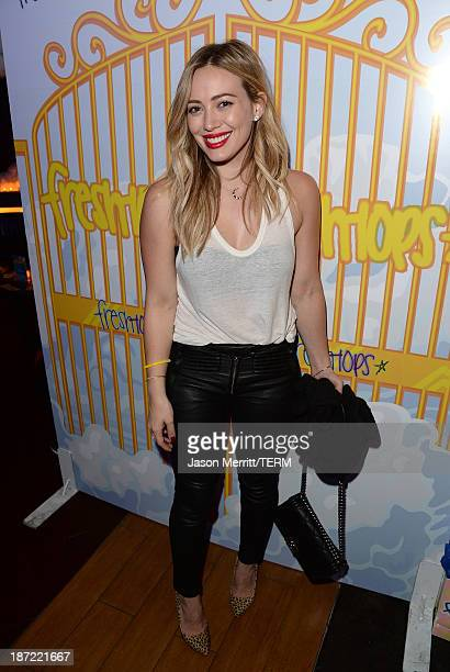 Actress Hilary Duff attends the FreshTops #SELENATORHEAVEN Selena Gomez concert viewing party at Hyde Lounge Staples Center at The Staples Center on...