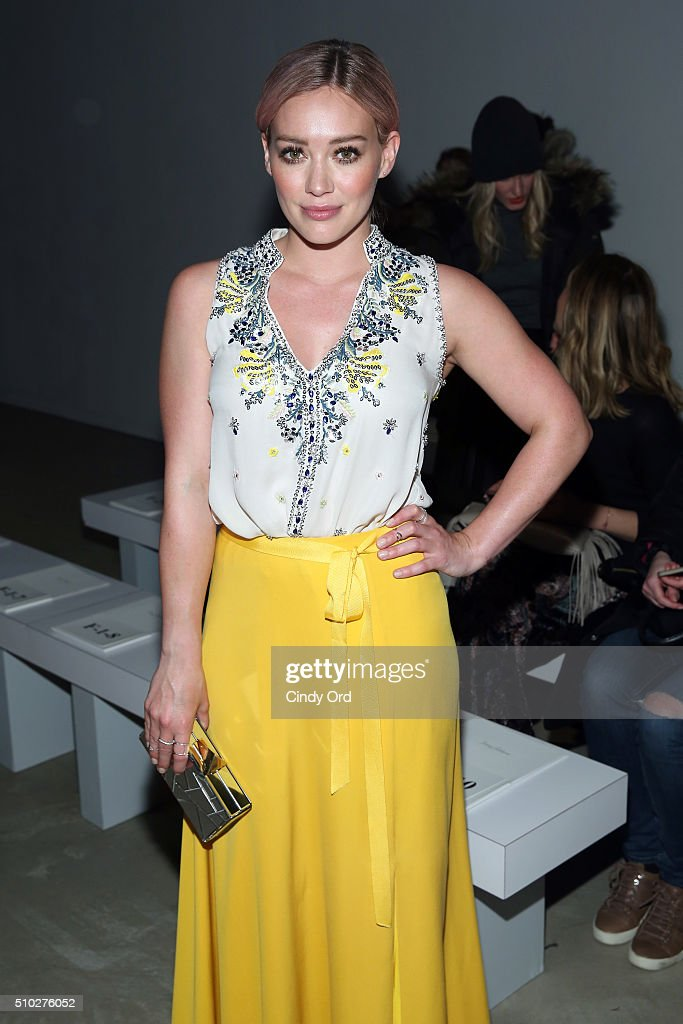 Actress, Hilary Duff, attends the Jenny Packham Fall 2016 fashion show during New York Fashion Week: The Shows at The Gallery, Skylight at Clarkson Sq on February 14, 2016 in New York City.