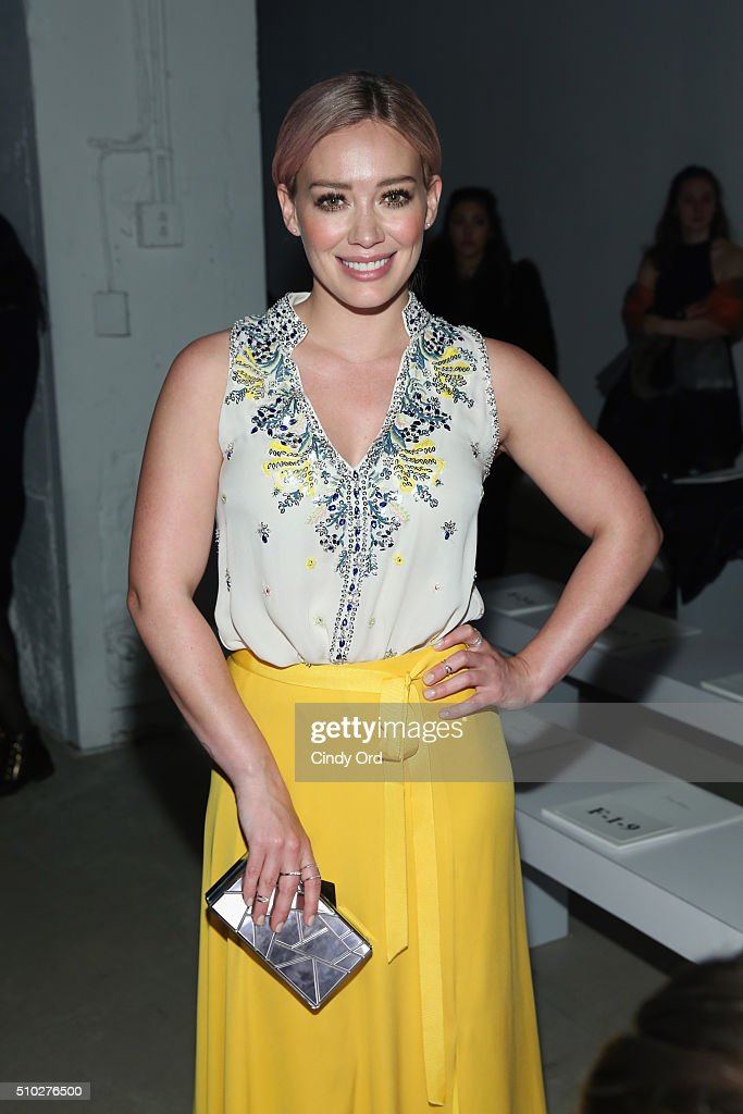 Actress, <a gi-track='captionPersonalityLinkClicked' href=/galleries/search?phrase=Hilary+Duff&family=editorial&specificpeople=201586 ng-click='$event.stopPropagation()'>Hilary Duff</a>, attends the Jenny Packham Fall 2016 fashion show during New York Fashion Week: The Shows at The Gallery, Skylight at Clarkson Sq on February 14, 2016 in New York City.