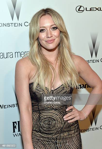 Actress Hilary Duff attends The Weinstein Company Netflix's 2015 Golden Globes After Party presented by FIJI Water Lexus Laura Mercier and Marie...