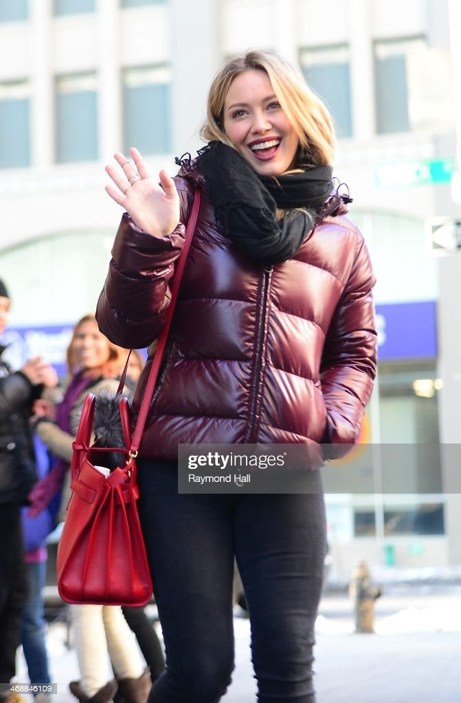 Actress <a gi-track='captionPersonalityLinkClicked' href=/galleries/search?phrase=Hilary+Duff&family=editorial&specificpeople=201586 ng-click='$event.stopPropagation()'>Hilary Duff</a> is seen in Soho on February 11, 2014 in New York City.