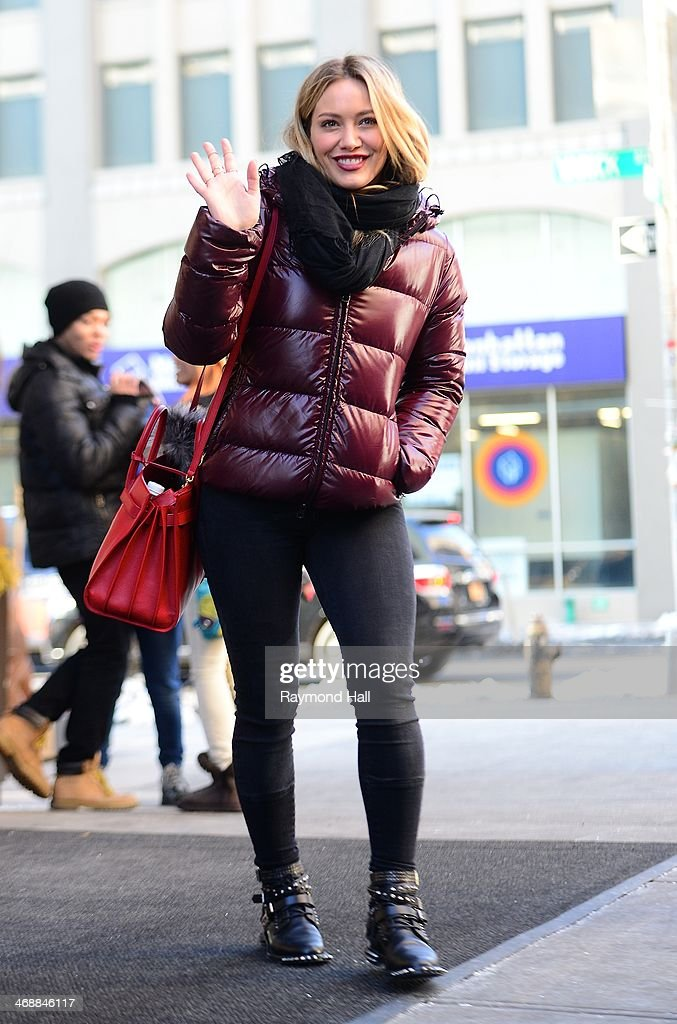 Actress Hilary Duff is seen in Soho on February 11, 2014 in New York City.