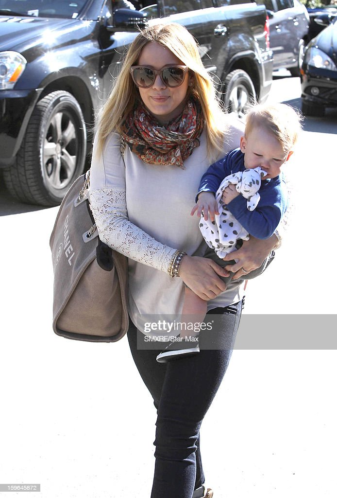 Actress <a gi-track='captionPersonalityLinkClicked' href=/galleries/search?phrase=Hilary+Duff&family=editorial&specificpeople=201586 ng-click='$event.stopPropagation()'>Hilary Duff</a> is sighted at The Grove on January 17, 2013 in Los Angeles, California.
