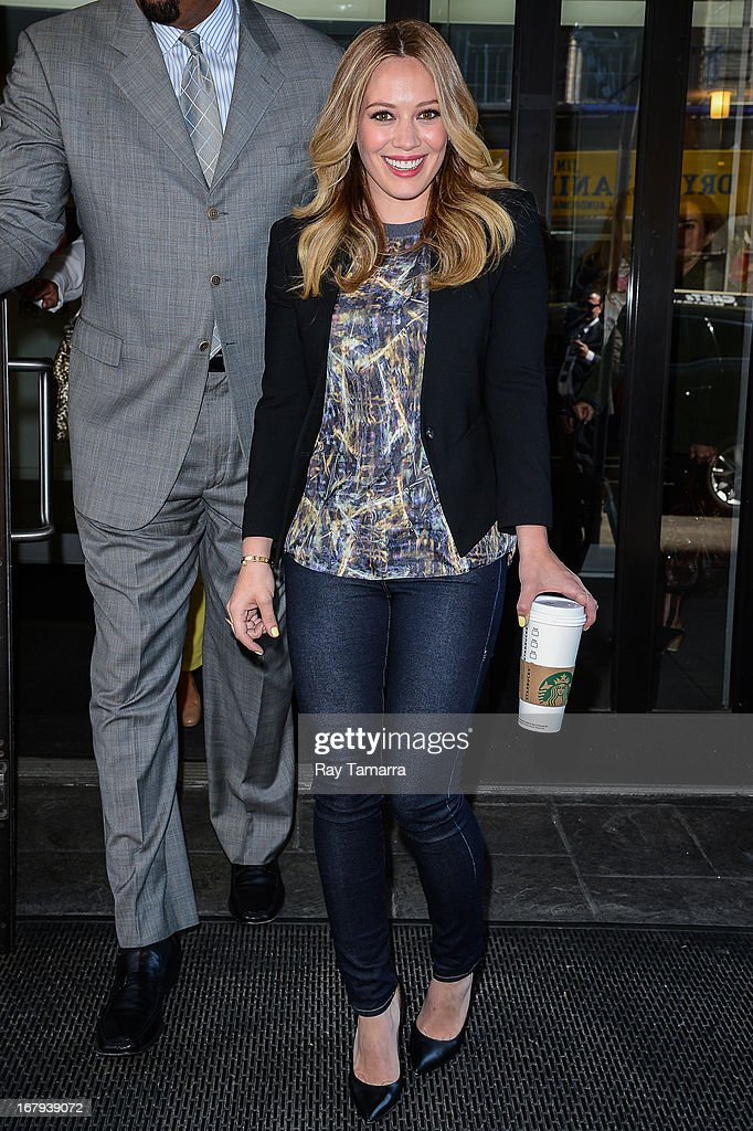 Actress <a gi-track='captionPersonalityLinkClicked' href=/galleries/search?phrase=Hilary+Duff&family=editorial&specificpeople=201586 ng-click='$event.stopPropagation()'>Hilary Duff</a> leaves the 'Good Day New York' taping at the Fox 5 Studios on May 2, 2013 in New York City.