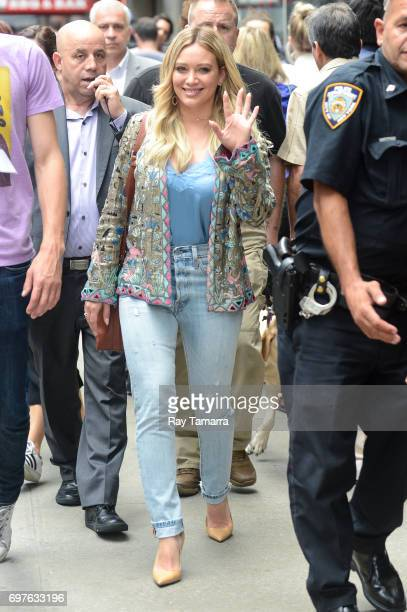 Actress Hilary Duff leaves the 'Good Morning America' taping at the ABC Times Square Studios on June 19 2017 in New York City